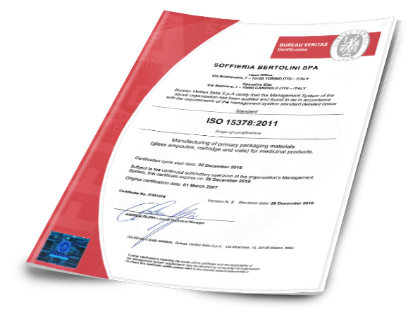 Soffieria Bertolini Certiticate of Registration ISO 15378.2011 Bureau Veritas