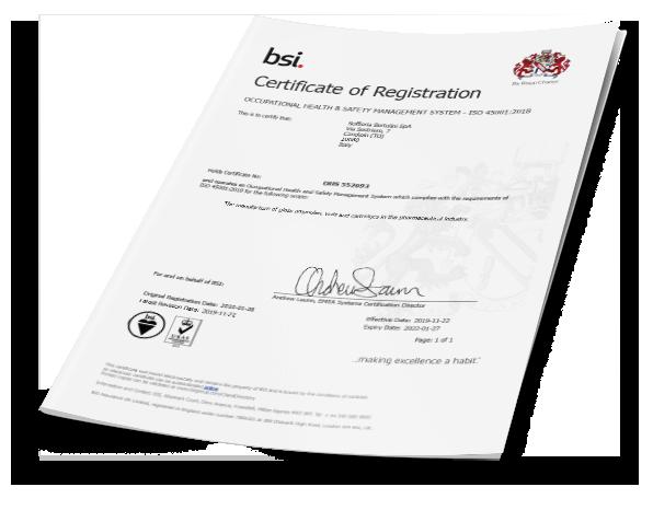 certificazione ISO 45000 Soffieria Bertolini